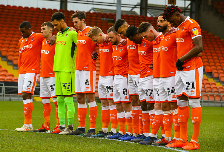The Blackpool team observe a minutes silence<br /> <br /> Photographer Alex Dodd/CameraSport<br /> <br /> The EFL Sky Bet League One - Blackpool v Shrewsbury Town - Saturday 19 January 2019 - Bloomfield Road - Blackpool<br /> <br /> World Copyright &copy; 2019 CameraSport. All rights reserved. 43 Linden Ave. Countesthorpe. Leicester. England. LE8 5PG - Tel: +44 (0) 116 277 4147 - admin@camerasport.com - www.camerasport.com