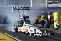 Feb. 22, 2013; Chandler, AZ, USA; NHRA top fuel dragster driver Brandon Bernstein during qualifying for the Arizona Nationals at Firebird International Raceway. Mandatory Credit: Mark J. Rebilas-