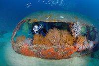 QT1308-D. scuba diver (model released) explores La Salvatierra shipwreck, near La Paz. Baja, Mexico, Sea of Cortez, Pacific Ocean.<br /> Photo Copyright &copy; Brandon Cole. All rights reserved worldwide.  www.brandoncole.com