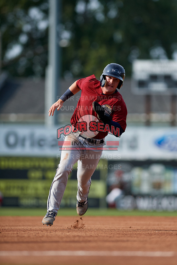 Mahoning Valley Scrappers center fielder Austen Wade (40) runs the bases during the first game of a doubleheader against the Batavia Muckdogs on August 28, 2017 at Dwyer Stadium in Batavia, New York.  Mahoning Valley defeated Batavia 6-3.  (Mike Janes/Four Seam Images)