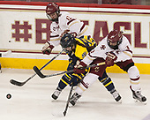Haley McLean (BC - 13), Katelyn Rae (Merrimack - 18), Serena Sommerfield (BC - 3) - The number one seeded Boston College Eagles defeated the eight seeded Merrimack College Warriors 1-0 to sweep their Hockey East quarterfinal series on Friday, February 24, 2017, at Kelley Rink in Conte Forum in Chestnut Hill, Massachusetts.The number one seeded Boston College Eagles defeated the eight seeded Merrimack College Warriors 1-0 to sweep their Hockey East quarterfinal series on Friday, February 24, 2017, at Kelley Rink in Conte Forum in Chestnut Hill, Massachusetts.