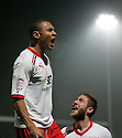 Darius Charles of Stevenage celebrates after their fourth goal with Stacy Long. - Stevenage v Milton Keynes Dons - npower League 1 - Lamex Stadium, Stevenage - 24th January 2012. © Kevin Coleman 2012