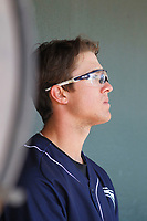 Charleston River Dogs outfielder Blake Rutherford (23) in the dugout  during a game against the Lakewood BlueClaws at Joseph P. Riley, Jr. Ballpark on May 3, 2017 in Charleston, South Carolina. Lakewood defeated Charleston 11-6. (Robert Gurganus/Four Seam Images)
