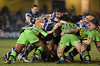 Bath Rugby forwards in action at a maul. Anglo-Welsh Cup Semi Final, between Bath Rugby and Northampton Saints on March 9, 2018 at the Recreation Ground in Bath, England. Photo by: Patrick Khachfe / Onside Images