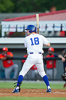 Logan Moon (18) of the Burlington Royals at bat against the Greeneville Astros at Burlington Athletic Park on June 30, 2014 in Burlington, North Carolina.  The Royals defeated the Astros 9-8. (Brian Westerholt/Four Seam Images)
