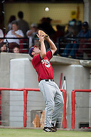 Huntsville first baseman Brad Nelson catches a foul pop-up versus Carolina at Five County Stadium in Zebulon, NC, Wednesday, July 19, 2006.