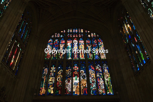 Eton college school, interior of college chapel, modern stained glass window. Eton near nr Windsor Berkshire