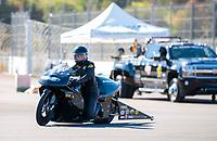 Nov 17, 2019; Pomona, CA, USA; NHRA pro stock motorcycle rider Jianna Salinas during the Auto Club Finals at Auto Club Raceway at Pomona. Mandatory Credit: Mark J. Rebilas-USA TODAY Sports