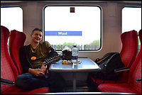 BNPS.co.uk (01202 558833)<br /> Pic: AllTheStations/BNPS<br /> <br /> Stopped at Wool station.<br /> <br /> A pair of railway enthusiasts are on an epic train journey to become the first people to visit every station in Britain. <br /> <br /> Eccentrics Geoff Marshall, 44, and Vicki Pipe, 34, are three weeks into the adventure, which will see them visit 2,563 stations in just three months. <br /> <br /> The couple of seven years from London began in Penzance and have already visited 750 stations, covering the entire South, South West and much of London. <br /> <br /> After visiting an average of 30 stations per day their trip will conclude in August in Thurso, the British mainland's most northernmost town.