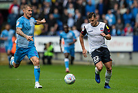Bolton Wanderers' Dennis Politic (right) competing with Coventry City's Kyle McFadzean<br /> <br /> Photographer Andrew Kearns/CameraSport<br /> <br /> The EFL Sky Bet Championship - Bolton Wanderers v Coventry City - Saturday 10th August 2019 - University of Bolton Stadium - Bolton<br /> <br /> World Copyright © 2019 CameraSport. All rights reserved. 43 Linden Ave. Countesthorpe. Leicester. England. LE8 5PG - Tel: +44 (0) 116 277 4147 - admin@camerasport.com - www.camerasport.com