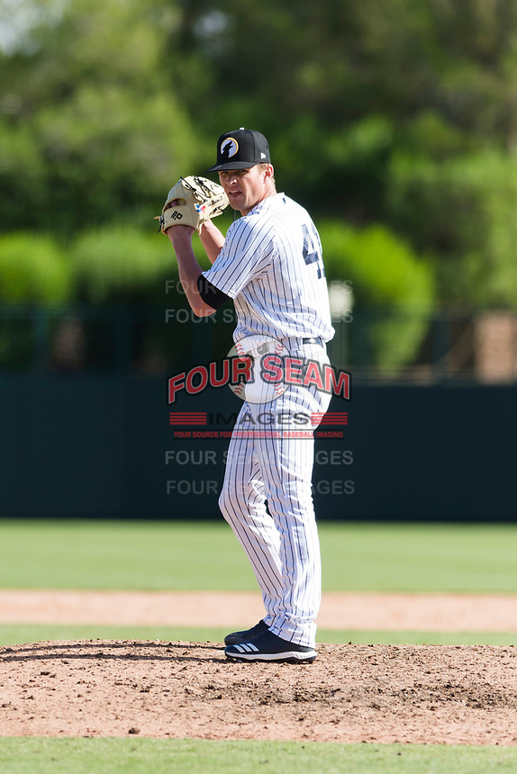 Glendale Desert Dogs relief pitcher Hobie Harris (41), of the New York Yankees organization, gets ready to deliver a pitch during an Arizona Fall League game against the Scottsdale Scorpions at Camelback Ranch on October 16, 2018 in Glendale, Arizona. Scottsdale defeated Glendale 6-1. (Zachary Lucy/Four Seam Images)