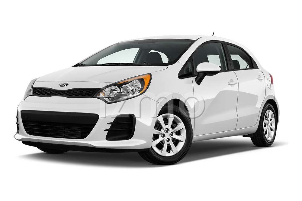 Stock pictures of low aggressive front three quarter view of 2017 KIA Rio LX 5 Door Hatchback Low Aggressive