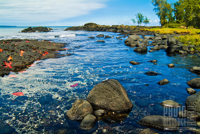 Worn, smooth lava rocks in a park along the Hilo shoreline, Big Island of Hawai'i.