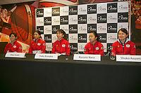 The Netherlands, Den Bosch, 16.04.2014. Fed Cup Netherlands-Japan, Press-conference Japanese team, l.t.r.: Misaki DOI, Risa OZAKI, captain Yuka KANEKO, Kurumi NARA and Shuko AOYAMA<br /> Photo:Tennisimages/Henk Koster