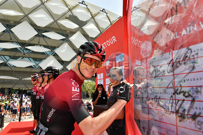 Chris Froome (GBR) Team Ineos at sign on before Stage 5 the Al Ain Water Stage of the UAE Tour 2020 running 162km from Al Ain to Jebel Hafeet, Dubai. 27th February 2020.<br /> Picture: LaPresse/Massimo Paolone   Cyclefile<br /> <br /> All photos usage must carry mandatory copyright credit (© Cyclefile   LaPresse/Massimo Paolone)