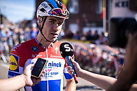 dutch national champion Fabio Jakobsen (NED/Deceuninck Quick Step) with a pre race sporza interview<br /> <br /> 104th Kampioenschap van Vlaanderen 2019<br /> One Day Race: Koolskamp > Koolskamp 186km (UCI 1.1)<br /> ©kramon