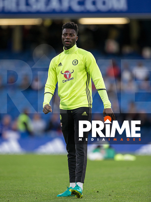 Joseph Colley of Chelsea warms up during the EPL2 - U23 - Premier League 2 match between Chelsea and Arsenal at Stamford Bridge, London, England on 23 September 2016. Photo by Andy Rowland.