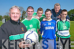 Castleisland soccer stars, l-r Georgie OCallaghan, Neil OSullivan, Sean Brosnan, Stephen Bartlett, Edmund Hartnett and Tomas.Brosnan, who are working hard to bring success to the club.