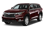 2015 Toyota Highlander Limited Hybrid 4x4 5 Door SUV Angular Front stock photos of front three quarter view