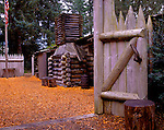 Fort Clatsop National Memorial, OR<br /> Gate & inner court of the reconstructed Lewis & Clark fort