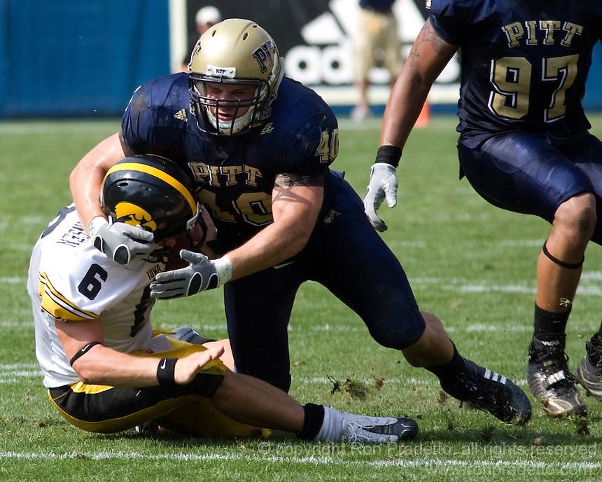 September 20, 2008: Pitt linebacker Scott McKillop sacks Iowa quarterback Jake Christensen. The Pitt Panthers defeated the Iowa Hawkeyes 21-20 on September 20, 2008 at Heinz Field, Pittsburgh, Pennsylvania.