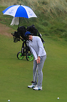 Conor Hickey (Dooks) on the 12th green during Round 2 of the Ulster Boys Championship at Portrush Golf Club, Portrush, Co. Antrim on the Valley course on Wednesday 31st Oct 2018.<br /> Picture:  Thos Caffrey / www.golffile.ie<br /> <br /> All photo usage must carry mandatory copyright credit (&copy; Golffile | Thos Caffrey)