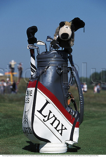 21st July 1996, Lytham and St Annes, Lancashire; The Lynx golf bag of Ernie Els stood on its own in the fairway complete with clubs and novelty wood covers, British Open 1996, Lytham and St. Annes. Els finished in tied 2nd place