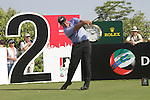 Darren Clarke teeing off on the second.on day one of the Dubai World Championship on the Earth Course at the Jumeirah Golf Estate, Dubai..Picture Fran Caffrey/www.golffile.ie.
