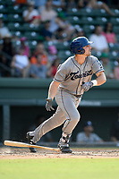 First baseman Chad Spanberger (24) of the Asheville Tourists bats in a game against the Greenville Drive on Sunday, June 3, 2018, at Fluor Field at the West End in Greenville, South Carolina. Greenville won, 7-6. (Tom Priddy/Four Seam Images)