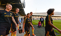 20181009 – BIEL BIENNE , SWITZERLAND : Belgian players with Ella Van Kerkhoven , Tine De Caigny , Davina Philtjens , Julie Biesmans and Kassandra Missipo pictured during warming up of the female soccer game between Switzerland and the Belgian Red Flames , the second leg in the semi finals play offs for qualification for the World Championship in France 2019 ; the first leg ended in equality 2-2 ;  Tuesday 9 th october 2018 at The Tissot Arena  in BIEL BIENNE , Switzerland . PHOTO SPORTPIX.BE | DAVID CATRY