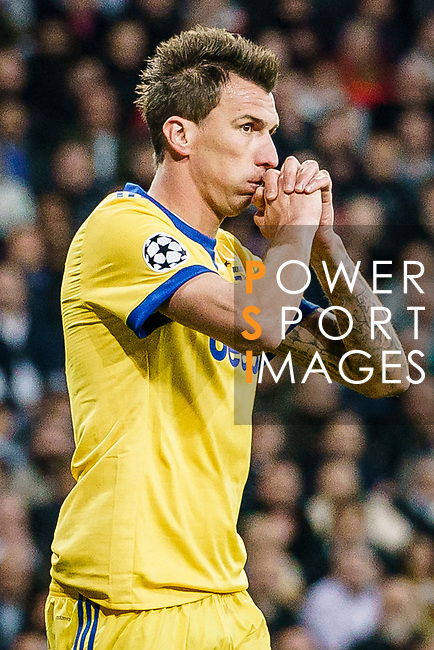 Mario Mandzukic of Juventus reacts during the UEFA Champions League 2017-18 quarter-finals (2nd leg) match between Real Madrid and Juventus at Estadio Santiago Bernabeu on 11 April 2018 in Madrid, Spain. Photo by Diego Souto / Power Sport Images