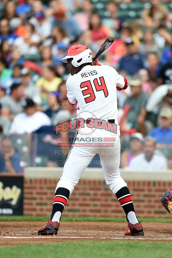 Franklin Reyes (34) of San Cristobal, Dominican Republic representing the Dominican Prospect League during the Under Armour All-American Game on August 16, 2014 at Wrigley Field in Chicago, Illinois.  (Mike Janes/Four Seam Images)