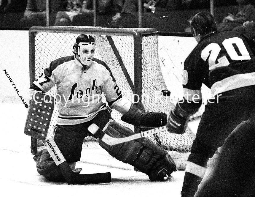 California Golden Seal goalie Gilles Meloche..<br />(1971 photo/Ron Riesterer)