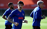 Atletico de Madrid's Renan Lodi, Stefan Savic and Jose Maria Gimenez during training session. May 28,2020.(ALTERPHOTOS/Atletico de Madrid/Pool)