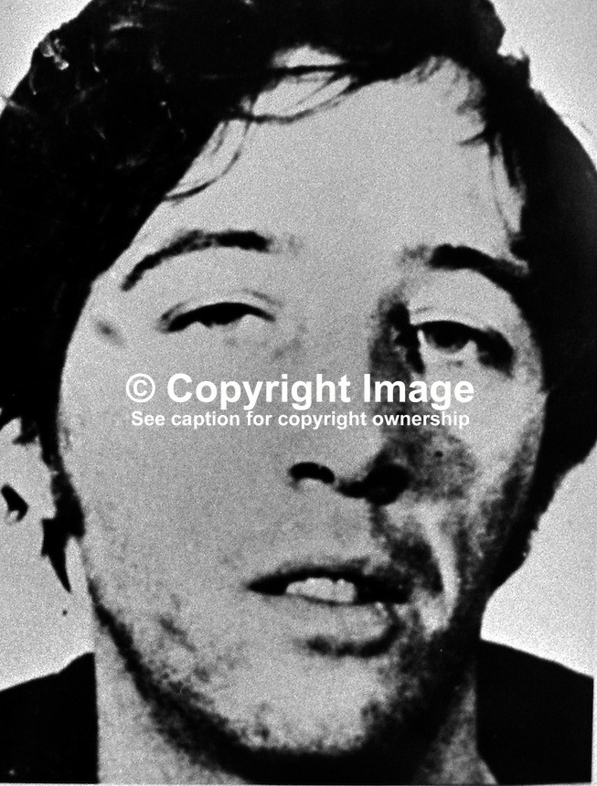 William Joseph Armstrong, 29 years, window cleaner, Moyard Crescent, Belfast, N Ireland, who was convicted, along 5 other men and 2 women, of exploding two IRA car bombs in London in March 1973. 197311050686WJA.<br /> <br /> Copyright Image from Victor Patterson, 54 Dorchester Park, <br /> Belfast, UK, BT9 6RJ<br /> <br /> t1: +44 28 9066 1296 (from Rep of Ireland 048 9066 1296)<br /> t2: +44 28 9002 2446 (from Rep of Ireland 048 9002 2446)<br /> m: +44 7802 353836<br /> <br /> e1: victorpatterson@me.com<br /> e2: victorpatterson@gmail.com<br /> <br /> www.victorpatterson.com<br /> <br /> Please see my Terms and Conditions of Use at www.victorpatterson.com. It is IMPORTANT that you familiarise yourself with them.<br /> <br /> Images used on the Internet must be visibly watermarked i.e. &copy; Victor Patterson within the body of the image and copyright metadata must not be deleted. Images used on the Internet have a size restriction of 4kbs and will be chargeable at current NUJ rates unless agreed otherwise.<br /> <br /> This image is only available for the use of the download recipient i.e. television station, newspaper, magazine, book publisher, etc, and must not be passed on to any third party. It is also downloaded on condition that each and every usage is notified within 7 days to victorpatterson@me.com<br /> <br /> The right of Victor Patterson to be identified as the author is asserted in accordance with The Copyright Designs And Patents Act (1988).