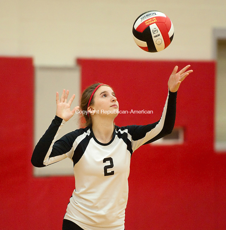 SOUTHBURY, CT--- -092815JS14---Pomperaug's Leah Rubinstein (2) prepares to serve during their match against Weston Monday at Pomperaug High School in Southbury. Pomperaug defeated Weston 3-2. Jim Shannon Republican-American