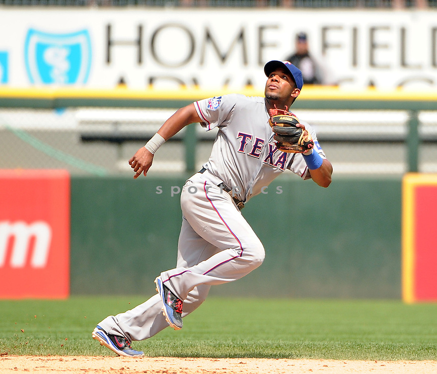 ELVIS ANDRUS (1) of the Texas Rangers in action during the Rangers game against the Chicago White Sox on July 5, 2012 at US Cellular Field in Chicago, IL. The White Sox beat the Rangers 2-1.
