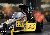 Sept. 1, 2014; Clermont, IN, USA; NHRA top fuel dragster driver Richie Crampton during the US Nationals at Lucas Oil Raceway. Mandatory Credit: Mark J. Rebilas-USA TODAY Sports