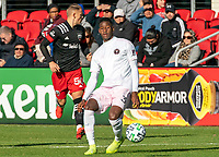 WASHINGTON, DC - MARCH 07: Eric Sorga #50 looks away as Andrés Reyes #3 of Inter Miami makes a play during a game between Inter Miami CF and D.C. United at Audi Field on March 07, 2020 in Washington, DC.