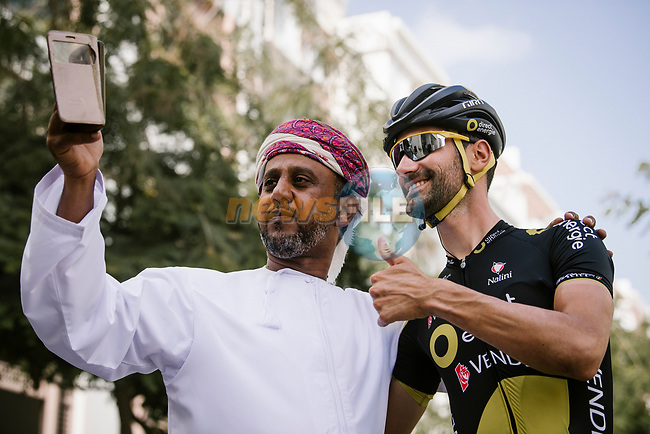 Fabien Grellier (FRA) Direct Energie poses for a selfie before the start of Stage 6 of the 10th Tour of Oman 2019, running 135.5km from Al Mouj Muscat to Matrah Corniche, Oman. 21st February 2019.<br /> Picture: ASO/P. Ballet | Cyclefile<br /> All photos usage must carry mandatory copyright credit (© Cyclefile | ASO/P. Ballet)