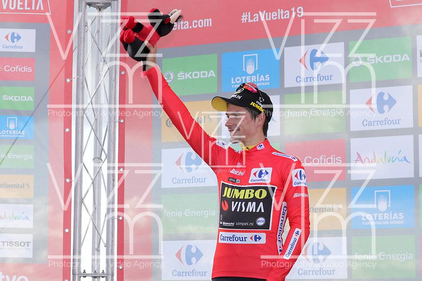 ESPAÑA, 06-09-2019: Primoz Roglic (SLO - YUMBO VISMA) celebra con el maillot rojo líder después de la etapa 13, hoy, 06 de septiembre de 2019, que se corrió entre Bilbao y Los Machucos. Monumento Vaca Pasiega con una distancia de 166,4 km como parte de La Vuelta a España 2019 que se disputa entre el 24/08 y el 15/09/2019 en territorio español. / Primoz Roglic (SLO - YUMBO VISMA) celebrates with the red leader jersey after the stage 13 today, September 06, 2019, from Bilbao to Los Machucos. Monumento Vaca Pasiega with a distance of 166,4 km as part of Tour of Spain 2019 which takes place between 08/24 and 09/15/2019 in Spain.  Photo: VizzorImage / Luis Angel Gomez / ASO.  Photo: VizzorImage / Luis Angel Gomez / ASO.  Photo: VizzorImage / Luis Angel Gomez / ASO.  Photo: VizzorImage / Luis Angel Gomez / ASO<br /> VizzorImage PROVIDES THE ACCESS TO THIS PHOTOGRAPH ONLY AS A PRESS AND EDITORIAL SERVICE AND NOT IS THE OWNER OF COPYRIGHT; ANOTHER USE HAVE ADDITIONAL PERMITS AND IS  REPONSABILITY OF THE END USER