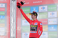 ESPAÑA, 06-09-2019: Primoz Roglic (SLO - YUMBO VISMA) celebra con el maillot rojo líder después de la etapa 13, hoy, 06 de septiembre de 2019, que se corrió entre Bilbao y Los Machucos. Monumento Vaca Pasiega con una distancia de 166,4 km como parte de La Vuelta a España 2019 que se disputa entre el 24/08 y el 15/09/2019 en territorio español. / Primoz Roglic (SLO - YUMBO VISMA) celebrates with the red leader jersey after the stage 13 today, September 06, 2019, from Bilbao to Los Machucos. Monumento Vaca Pasiega with a distance of 166,4 km as part of Tour of Spain 2019 which takes place between 08/24 and 09/15/2019 in Spain.  Photo: VizzorImage / Luis Angel Gomez / ASO.  Photo: VizzorImage / Luis Angel Gomez / ASO.  Photo: VizzorImage / Luis Angel Gomez / ASO.  Photo: VizzorImage / Luis Angel Gomez / ASO<br /> VizzorImage PROVIDES THE ACCESS TO THIS PHOTOGRAPH ONLY AS A PRESS AND EDITORIAL SERVICE AND NOT IS THE OWNER OF COPYRIGHT; ANOTHER USE HAVE ADDITIONAL PERMITS AND IS  REPONSABILITY OF THE END USER