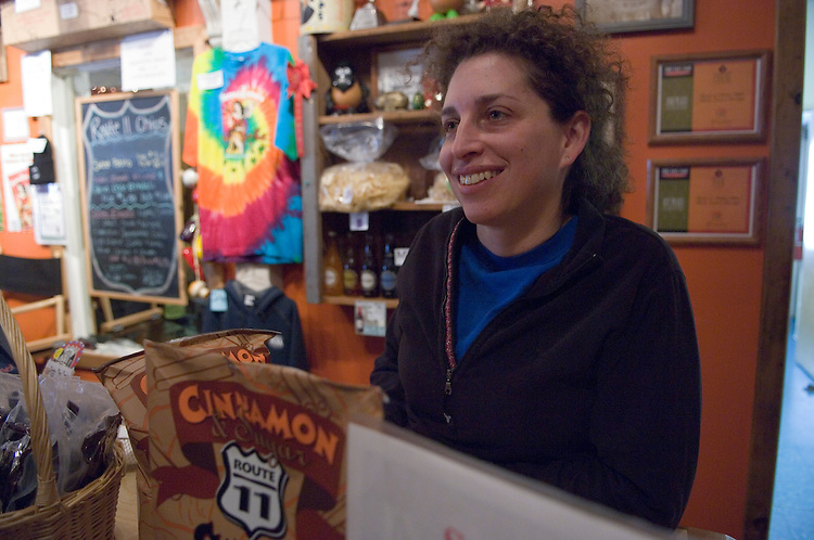 Owner Sarah Cohen of the Route 11 potato chip factory in Middletown Virginia where all the products are hand-cooked.