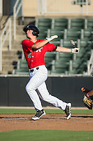 Cody Daily (37) of the Kannapolis Intimidators follows through on his swing against the Greensboro Grasshoppers at CMC-Northeast Stadium on August 2, 2015 in Kannapolis, North Carolina.  The Intimidators defeated the Grasshoppers 4-2.  (Brian Westerholt/Four Seam Images)