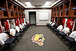 SIOUX FALLS, SD - MARCH 24: A general view of the Ferris State University locker room prior to the Division II Men's Basketball Championship held at the Sanford Pentagon on March 24, 2018 in Sioux Falls, South Dakota. Ferris State University defeated Northern State University 71-69. (Photo by Tim Nwachukwu/NCAA Photos via Getty Images)