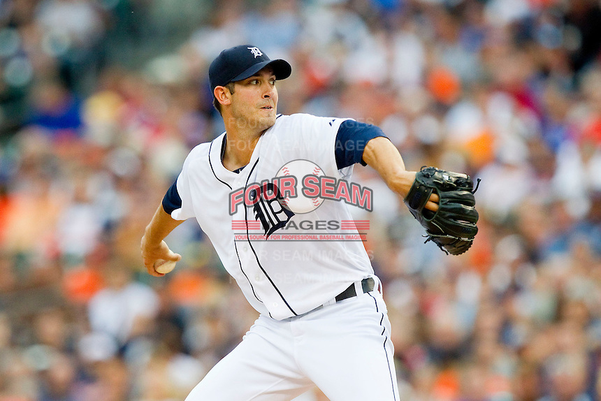 Detroit Tigers starting pitcher Rick Porcello (21) delivers a pitch to the plate against the Los Angeles Angels at Comerica Park on June 25, 2013 in Detroit, Michigan.  The Angels defeated the Tigers 14-8.  (Brian Westerholt/Four Seam Images)