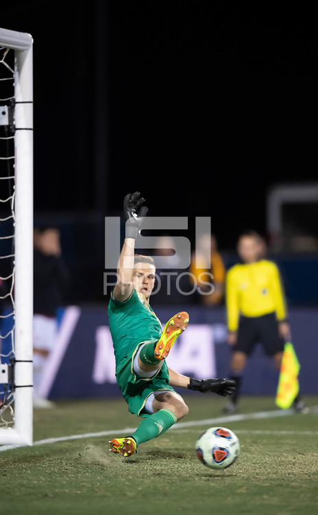 Santa Barbara, CA - Sunday, December 9, 2018:  Maryland won the 2018 Men's College Cup, defeating Akron 1-0.  A penalty kick by Maryland's Amar Sejdic gets by Akron goalkeeper Ben Lundt.