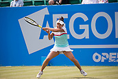 June 14th 2017, Nottingham,  England; WTA Aegon Nottingham Open Tennis Tournament day 5;  Back hand from Kurumi Nara of Japan in her second round match on centre court