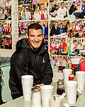 March 19, 2017. Chapel Hill, North Carolina.<br /> <br /> Mitch Trubisky, center, eats breakfast at Suttons' Drug Store with some of his favorite receivers from college.<br /> <br /> Mitchell Trubisky, the former quarterback of UNC-CH, is projected to be picked in the first round of the 2017 NFL draft.