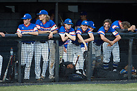 Members of Mooresville Post 66 watch the action from the dugout during the game against Kannapolis Post 115 during an American Legion baseball game at Northwest Cabarrus High School on May 30, 2019 in Concord, North Carolina. Mooresville Post 66 defeated Kannapolis Post 115 4-3. (Brian Westerholt/Four Seam Images)
